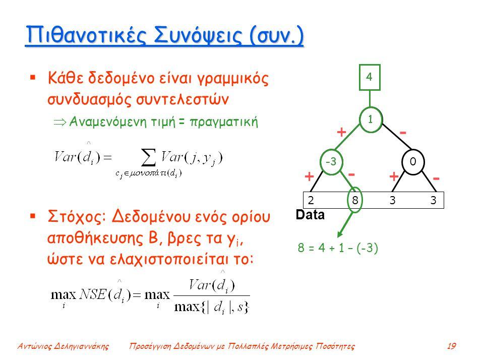 Αντώνιος ΔεληγιαννάκηςΠροσέγγιση Δεδομένων με Πολλαπλές Μετρήσιμες Ποσότητες19 Πιθανοτικές Συνόψεις (συν.)  Κάθε δεδομένο είναι γραμμικός συνδυασμός συντελεστών  Αναμενόμενη τιμή = πραγματική  Στόχος: Δεδομένου ενός ορίου αποθήκευσης Β, βρες τα y i, ώστε να ελαχιστοποιείται το: Data 2 8 3 3 - + ++ - - -3 1 4 0 1 8 = 4 + 1 – (-3) 4