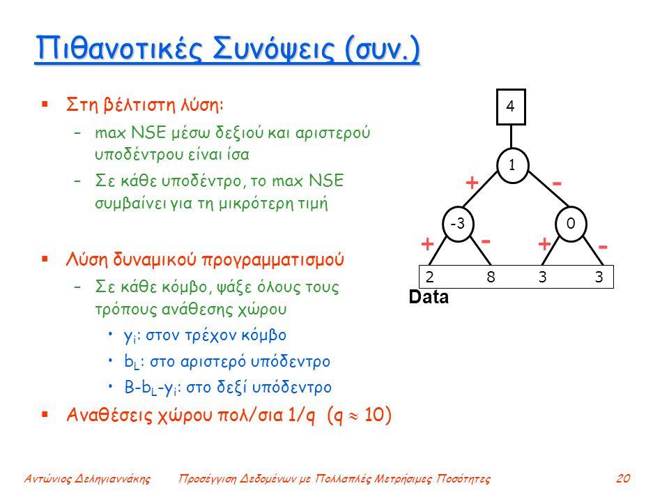 Αντώνιος ΔεληγιαννάκηςΠροσέγγιση Δεδομένων με Πολλαπλές Μετρήσιμες Ποσότητες20 Πιθανοτικές Συνόψεις (συν.)  Στη βέλτιστη λύση: –max NSE μέσω δεξιού και αριστερού υποδέντρου είναι ίσα –Σε κάθε υποδέντρο, το max NSE συμβαίνει για τη μικρότερη τιμή  Λύση δυναμικού προγραμματισμού –Σε κάθε κόμβο, ψάξε όλους τους τρόπους ανάθεσης χώρου y i : στον τρέχον κόμβο b L : στο αριστερό υπόδεντρο Β-b L -y i : στο δεξί υπόδεντρο  Αναθέσεις χώρου πολ/σια 1/q (q  10) Data 2 8 3 3 - + ++ - - -3 1 4 0