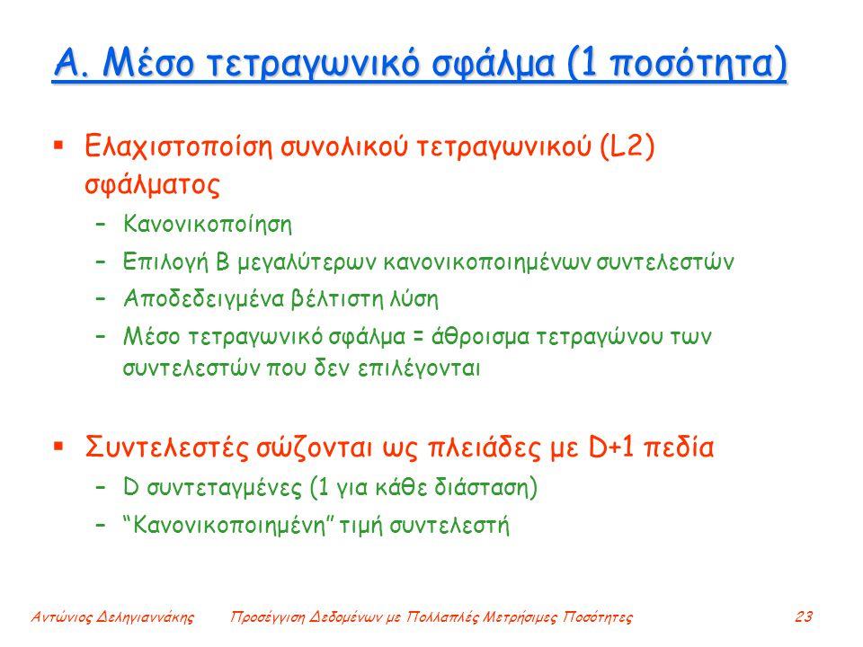 Αντώνιος ΔεληγιαννάκηςΠροσέγγιση Δεδομένων με Πολλαπλές Μετρήσιμες Ποσότητες23 Α. Μέσο τετραγωνικό σφάλμα (1 ποσότητα)  Ελαχιστοποίση συνολικού τετρα