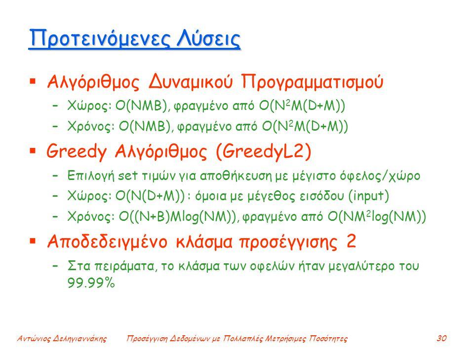 Αντώνιος ΔεληγιαννάκηςΠροσέγγιση Δεδομένων με Πολλαπλές Μετρήσιμες Ποσότητες30 Προτεινόμενες Λύσεις  Αλγόριθμος Δυναμικού Προγραμματισμού –Χώρος: O(NMB), φραγμένο από O(N 2 M(D+M)) –Χρόνος: O(NMB), φραγμένο από O(N 2 M(D+M))  Greedy Αλγόριθμος (GreedyL2) –Επιλογή set τιμών για αποθήκευση με μέγιστο όφελος/χώρο –Χώρος: O(N(D+M)) : όμοια με μέγεθος εισόδου (input) –Χρόνος: O((N+Β)Mlog(NM)), φραγμένο από O(NM 2 log(NM))  Αποδεδειγμένο κλάσμα προσέγγισης 2 –Στα πειράματα, το κλάσμα των οφελών ήταν μεγαλύτερο του 99.99%