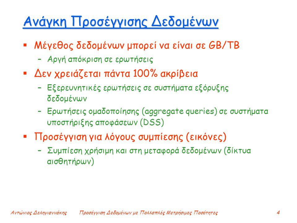 Αντώνιος ΔεληγιαννάκηςΠροσέγγιση Δεδομένων με Πολλαπλές Μετρήσιμες Ποσότητες4 Ανάγκη Προσέγγισης Δεδομένων  Μέγεθος δεδομένων μπορεί να είναι σε GB/T