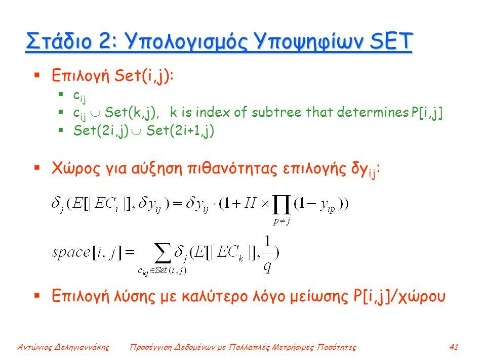 Αντώνιος ΔεληγιαννάκηςΠροσέγγιση Δεδομένων με Πολλαπλές Μετρήσιμες Ποσότητες41 Στάδιο 2: Υπολογισμός Υποψηφίων SET  Επιλογή Set(i,j):  c ij  c ij  Set(k,j), k is index of subtree that determines P[i,j]  Set(2i,j)  Set(2i+1,j)  Χώρος για αύξηση πιθανότητας επιλογής δy ij :  Επιλογή λύσης με καλύτερο λόγο μείωσης P[i,j]/χώρου