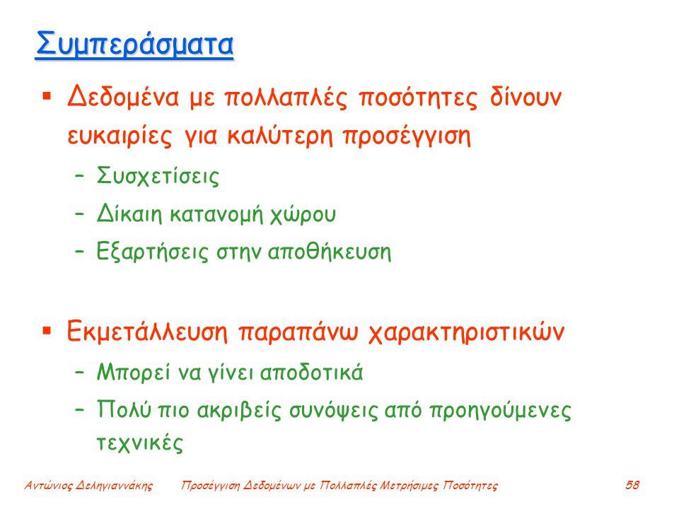 Αντώνιος ΔεληγιαννάκηςΠροσέγγιση Δεδομένων με Πολλαπλές Μετρήσιμες Ποσότητες58 Συμπεράσματα  Δεδομένα με πολλαπλές ποσότητες δίνουν ευκαιρίες για καλ