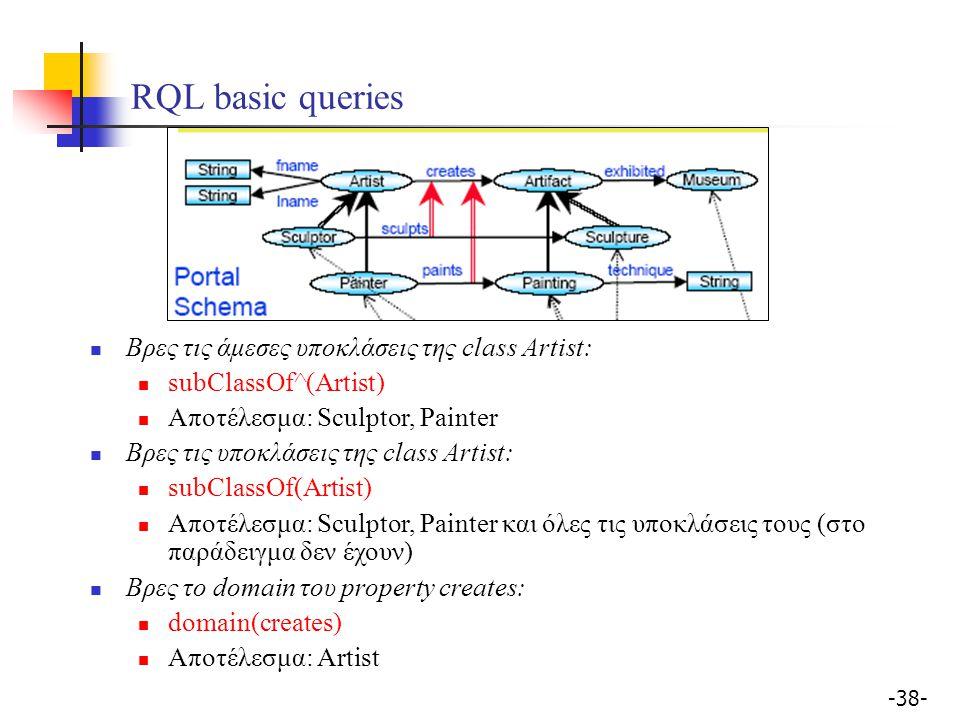 -38- RQL basic queries Βρες τις άμεσες υποκλάσεις της class Artist: subClassOf^(Artist) Αποτέλεσμα: Sculptor, Painter Βρες τις υποκλάσεις της class Ar