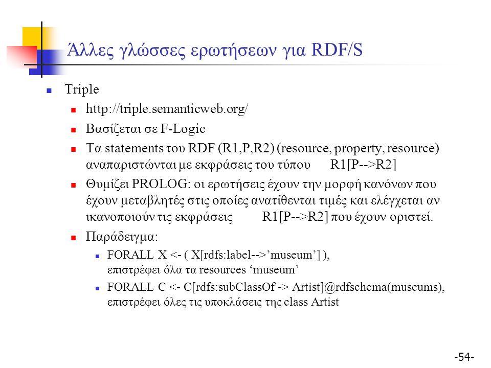 -54- Άλλες γλώσσες ερωτήσεων για RDF/S Triple http://triple.semanticweb.org/ Βασίζεται σε F-Logic Tα statements του RDF (R1,P,R2) (resource, property,