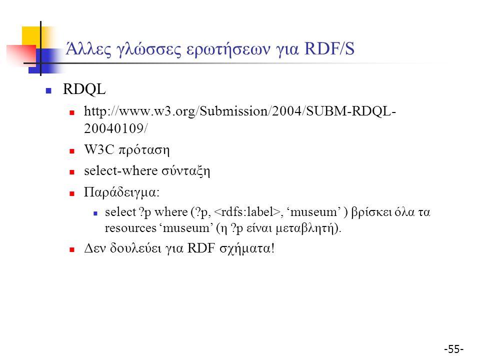 -55- Άλλες γλώσσες ερωτήσεων για RDF/S RDQL http://www.w3.org/Submission/2004/SUBM-RDQL- 20040109/ W3C πρόταση select-where σύνταξη Παράδειγμα: select