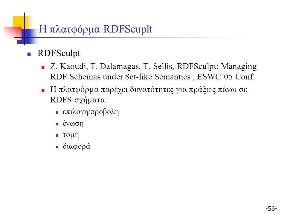 -56- Η πλατφόρμα RDFScuplt RDFSculpt Z. Kaoudi, T. Dalamagas, T. Sellis, RDFSculpt: Managing RDF Schemas under Set-like Semantics, ESWC'05 Conf. Η πλα