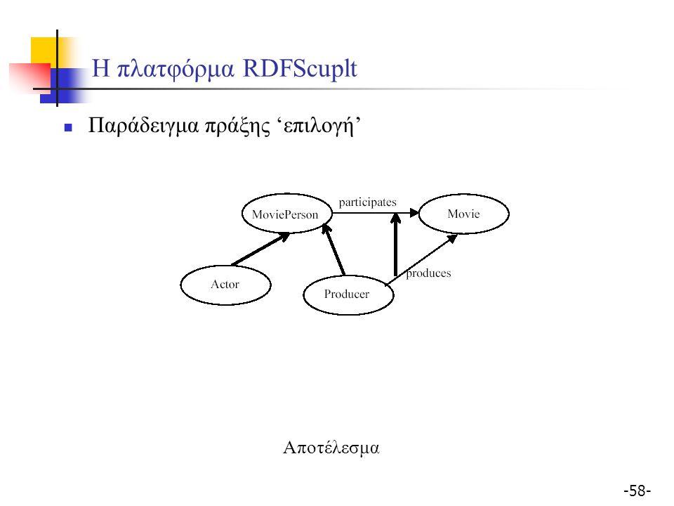 -58- Η πλατφόρμα RDFScuplt Παράδειγμα πράξης 'επιλογή' Αποτέλεσμα