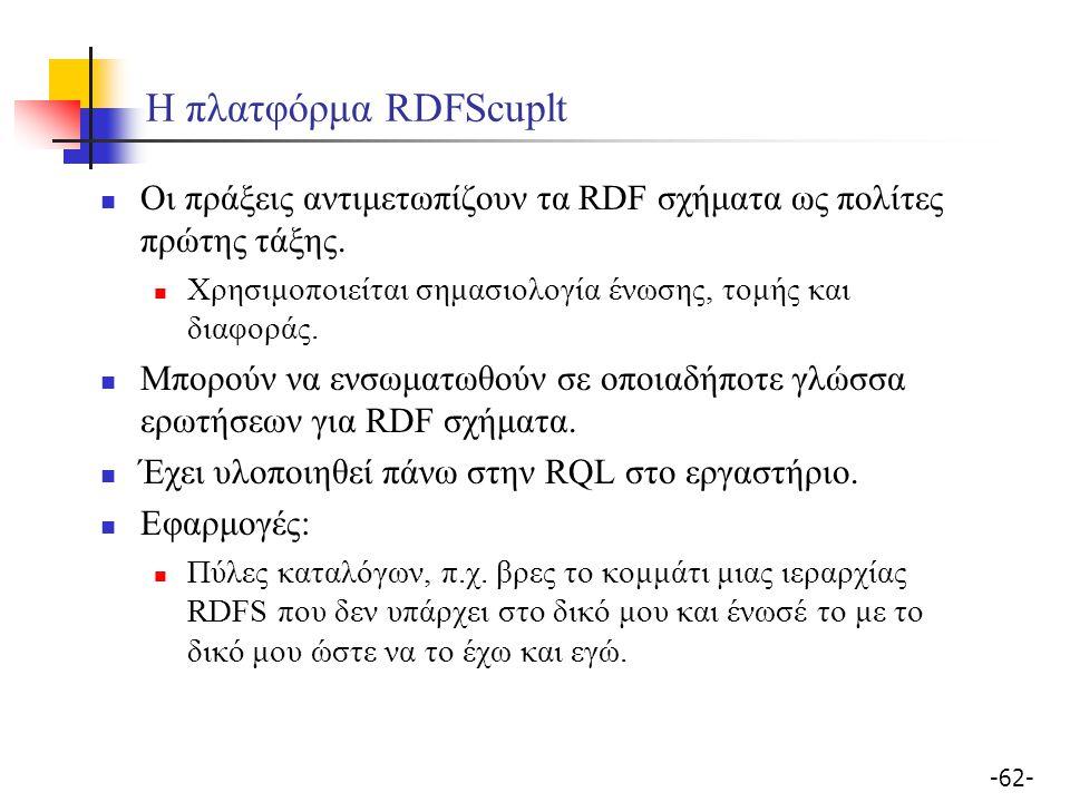 -62- Η πλατφόρμα RDFScuplt Οι πράξεις αντιμετωπίζουν τα RDF σχήματα ως πολίτες πρώτης τάξης. Χρησιμοποιείται σημασιολογία ένωσης, τομής και διαφοράς.