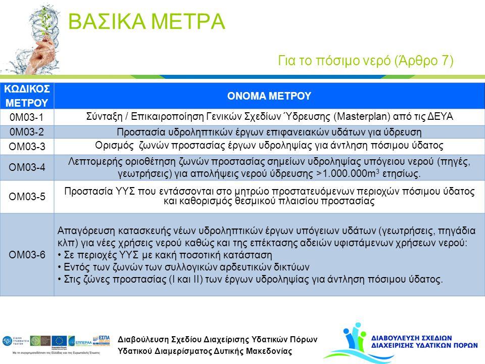 Διαβούλευση Σχεδίου Διαχείρισης Υδατικών Πόρων Υδατικού Διαμερίσματος Δυτικής Μακεδονίας ΚΩΔΙΚΟΣ ΜΕΤΡΟΥ ΟΝΟΜΑ ΜΕΤΡΟΥ 0Μ03 ‐ 1 Σύνταξη / Επικαιροποίηση