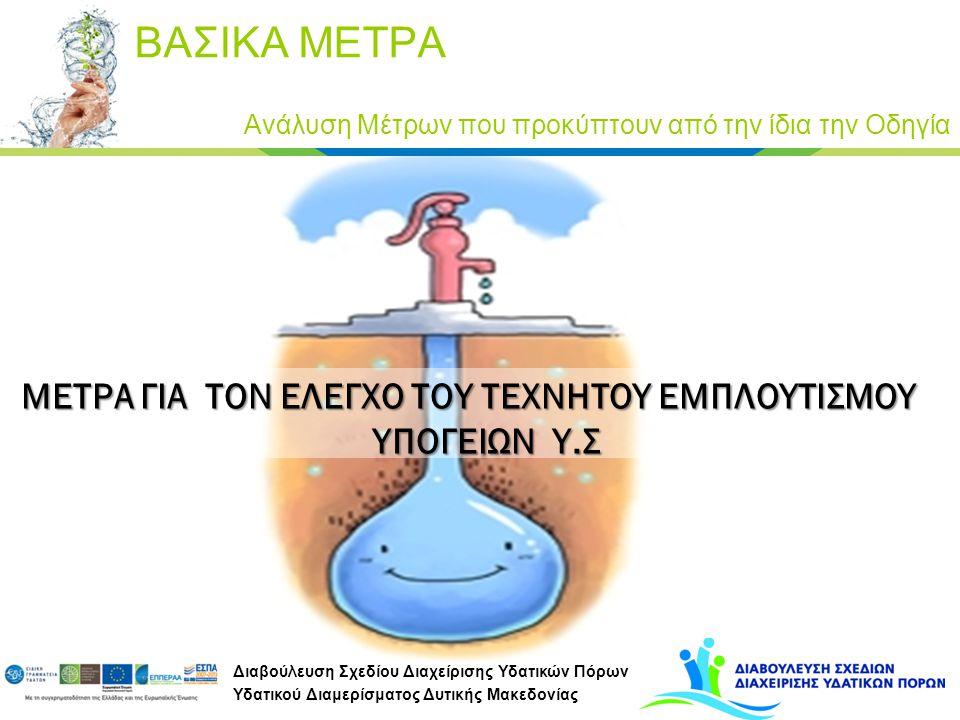 Διαβούλευση Σχεδίου Διαχείρισης Υδατικών Πόρων Υδατικού Διαμερίσματος Δυτικής Μακεδονίας ΜΕΤΡΑ ΓΙΑ ΤΟΝ ΕΛΕΓΧΟ ΤΟΥ ΤΕΧΝΗΤΟΥ ΕΜΠΛΟΥΤΙΣΜΟΥ ΥΠΟΓΕΙΩΝ Υ.Σ Α