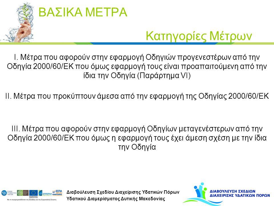 Διαβούλευση Σχεδίου Διαχείρισης Υδατικών Πόρων Υδατικού Διαμερίσματος Δυτικής Μακεδονίας ΒΑΣΙΚΑ ΜΕΤΡΑ Κατηγορίες Μέτρων I. Μέτρα που αφορούν στην εφαρ