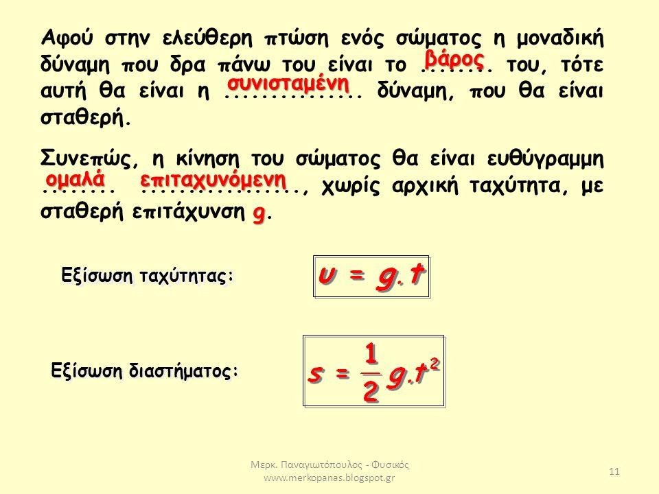 Μερκ. Παναγιωτόπουλος - Φυσικός www.merkopanas.blogspot.gr 11 Αφού στην ελεύθερη πτώση ενός σώματος η μοναδική δύναμη που δρα πάνω του είναι το.......