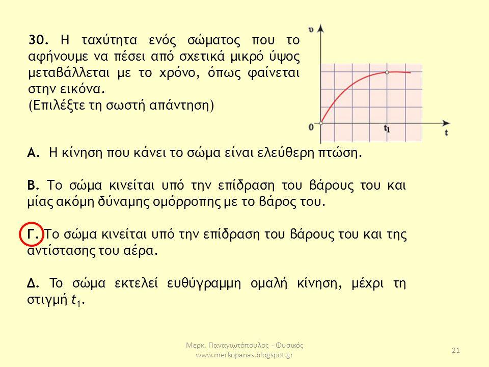 Μερκ. Παναγιωτόπουλος - Φυσικός www.merkopanas.blogspot.gr 21 30. H ταχύτητα ενός σώματος που το αφήνουμε να πέσει από σχετικά μικρό ύψος μεταβάλλεται