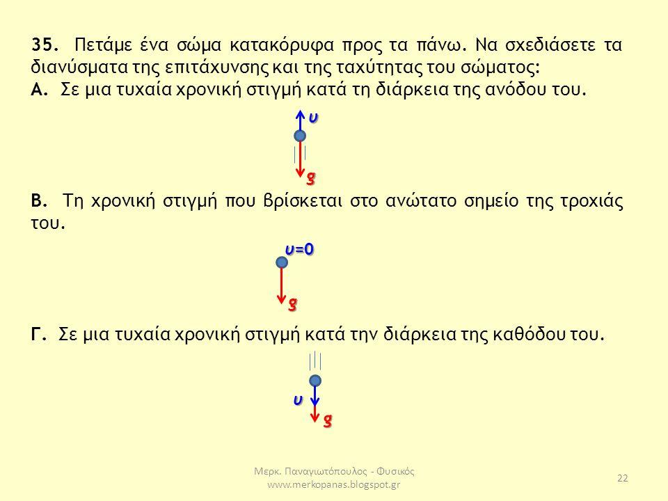 Μερκ. Παναγιωτόπουλος - Φυσικός www.merkopanas.blogspot.gr 22 35. Πετάμε ένα σώμα κατακόρυφα προς τα πάνω. Να σχεδιάσετε τα διανύσματα της επιτάχυνσης