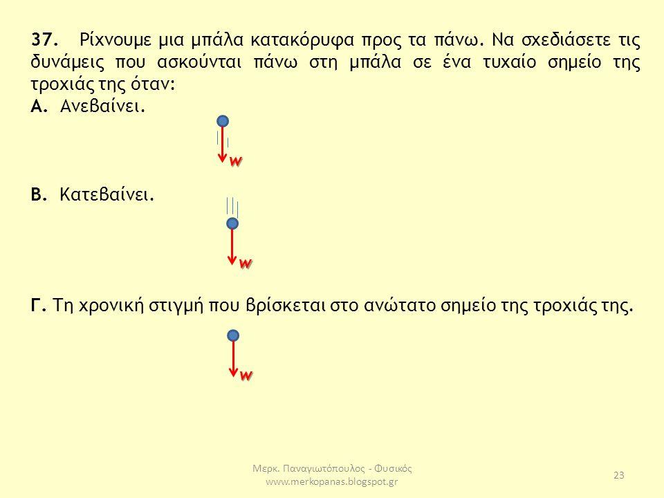 Μερκ. Παναγιωτόπουλος - Φυσικός www.merkopanas.blogspot.gr 23 37. Ρίχνουμε μια μπάλα κατακόρυφα προς τα πάνω. Να σχεδιάσετε τις δυνάμεις που ασκούνται