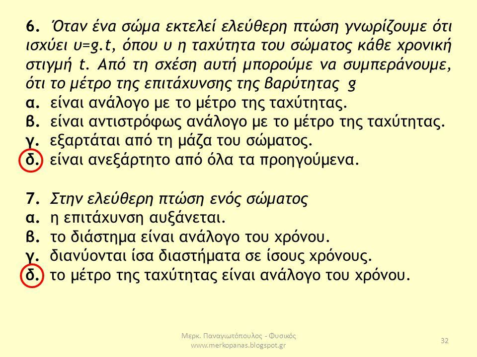 Μερκ. Παναγιωτόπουλος - Φυσικός www.merkopanas.blogspot.gr 32 6. Όταν ένα σώμα εκτελεί ελεύθερη πτώση γνωρίζουμε ότι ισχύει υ=g.t, όπου υ η ταχύτητα τ