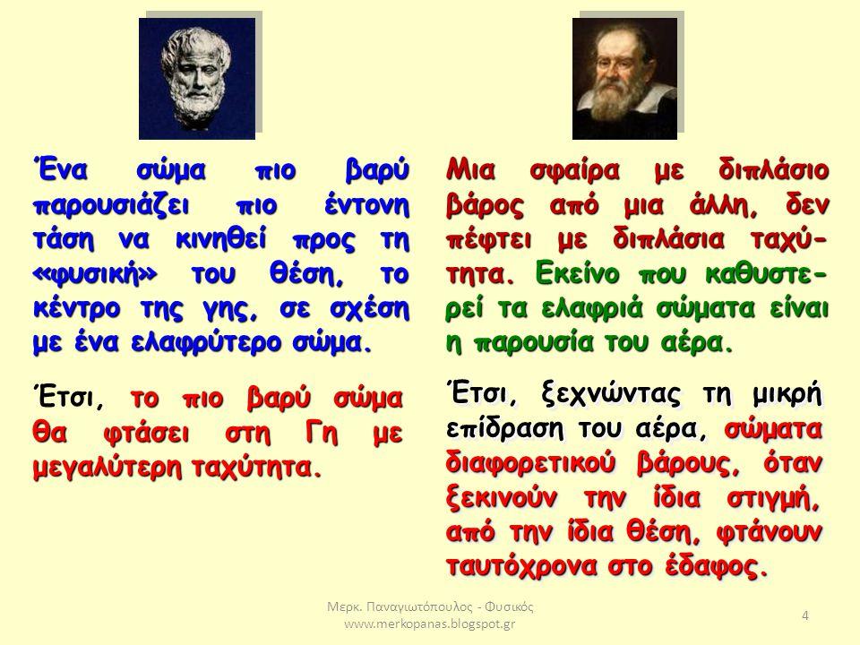 Μερκ. Παναγιωτόπουλος - Φυσικός www.merkopanas.blogspot.gr 4 Ένα σώμα πιο βαρύ παρουσιάζει πιο έντονη τάση να κινηθεί προς τη «φυσική» του θέση, το κέ
