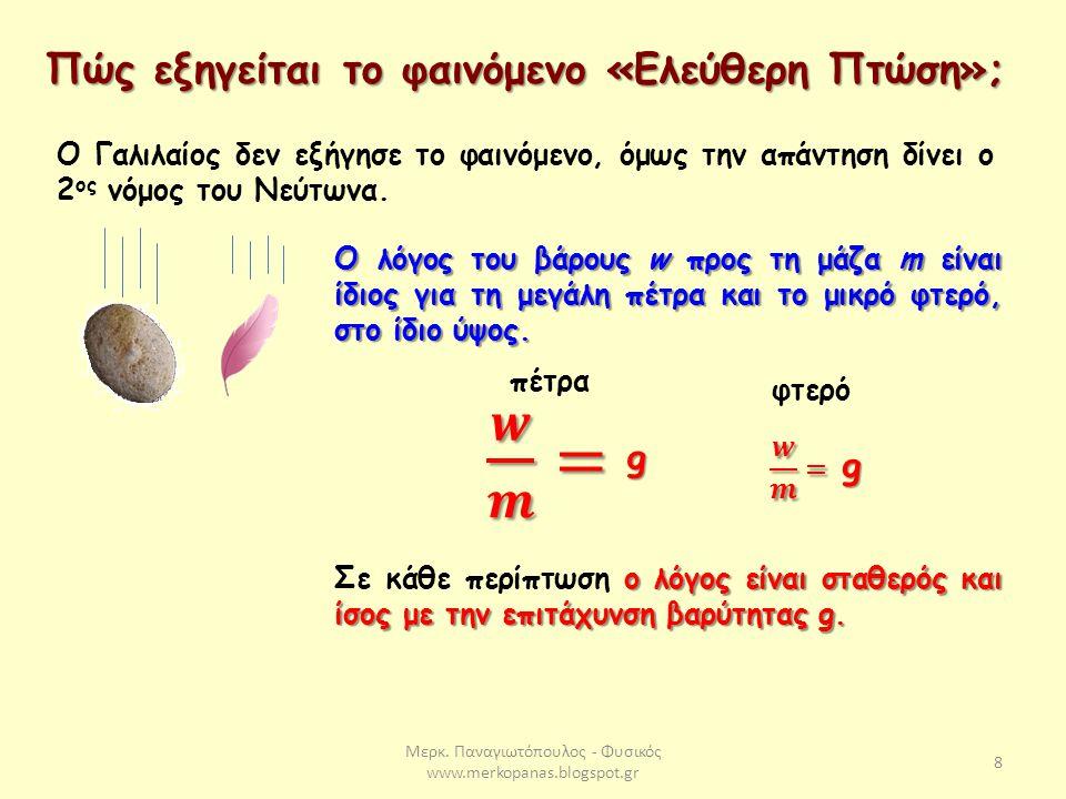 Μερκ. Παναγιωτόπουλος - Φυσικός www.merkopanas.blogspot.gr 8 Πώς εξηγείται το φαινόμενο «Ελεύθερη Πτώση»; Ο Γαλιλαίος δεν εξήγησε το φαινόμενο, όμως τ