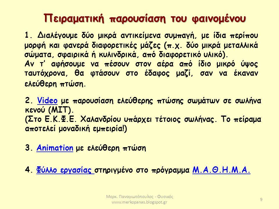 Μερκ. Παναγιωτόπουλος - Φυσικός www.merkopanas.blogspot.gr 9 Πειραματική παρουσίαση του φαινομένου 3. Animation με ελεύθερη πτώσηAnimation 2. Video με