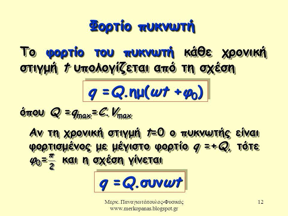 Μερκ. Παναγιωτόπουλος-Φυσικός www.merkopanas.blogspot.gr 12 Φορτίο πυκνωτή Το φορτίο του πυκνωτή κάθε χρονική στιγμή t υπολογίζεται από τη σχέση q =Q.