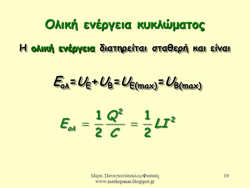 Μερκ. Παναγιωτόπουλος-Φυσικός www.merkopanas.blogspot.gr 19 Ολική ενέργεια κυκλώματος Η ολική ενέργεια διατηρείται σταθερή και είναι Ε ολ =U E +U B =U