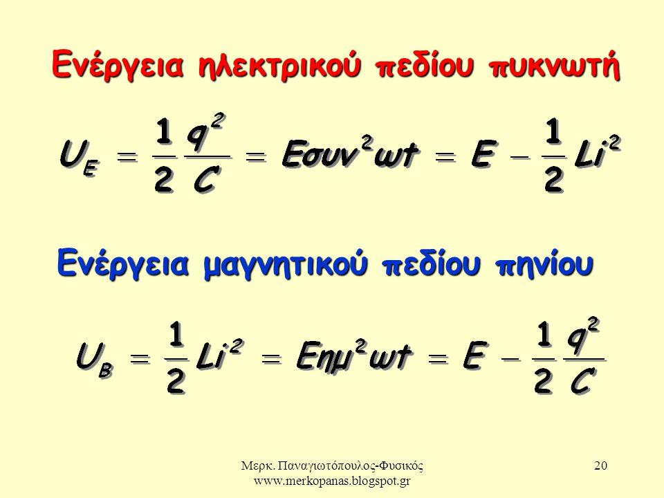 Μερκ. Παναγιωτόπουλος-Φυσικός www.merkopanas.blogspot.gr 20 Ενέργεια ηλεκτρικού πεδίου πυκνωτή Ενέργεια μαγνητικού πεδίου πηνίου