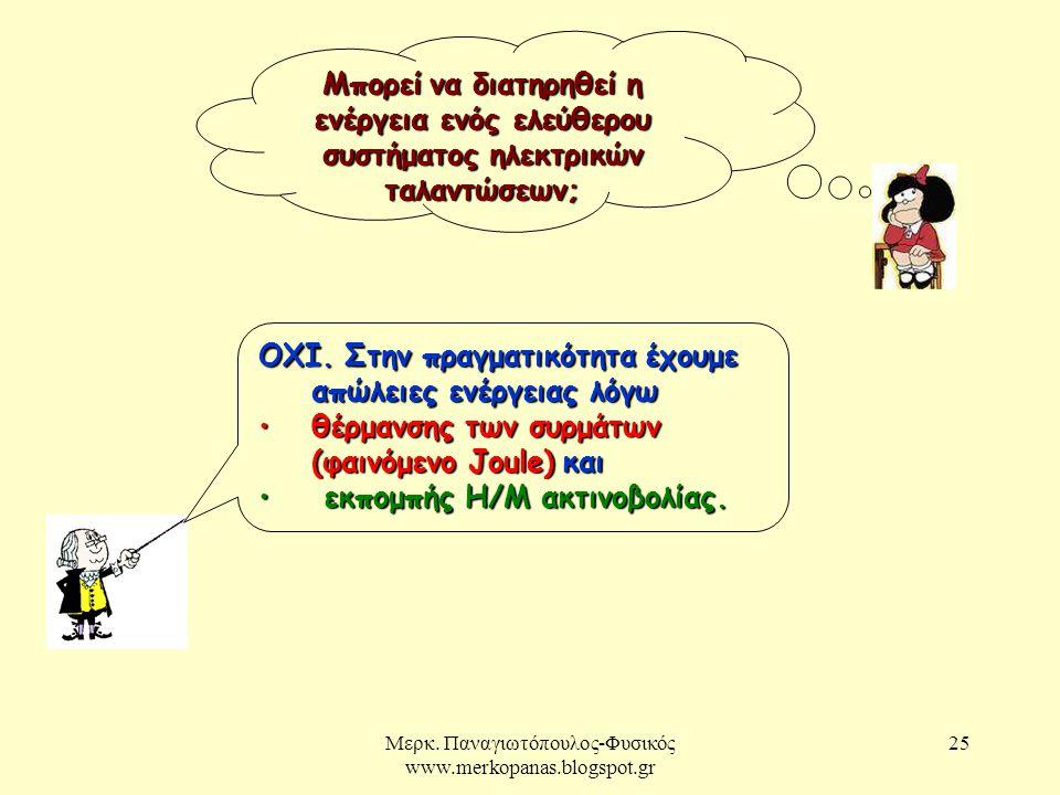 Μερκ. Παναγιωτόπουλος-Φυσικός www.merkopanas.blogspot.gr 25 Μπορείνα διατηρηθεί η ενέργεια ενός ελεύθερου συστήματος ηλεκτρικών ταλαντώσεων; Μπορεί να