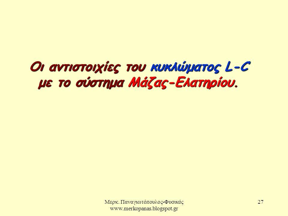 Μερκ. Παναγιωτόπουλος-Φυσικός www.merkopanas.blogspot.gr 27 Οι αντιστοιχίες του κυκλώματος L-C με το σύστημα Μάζας-Ελατηρίου.