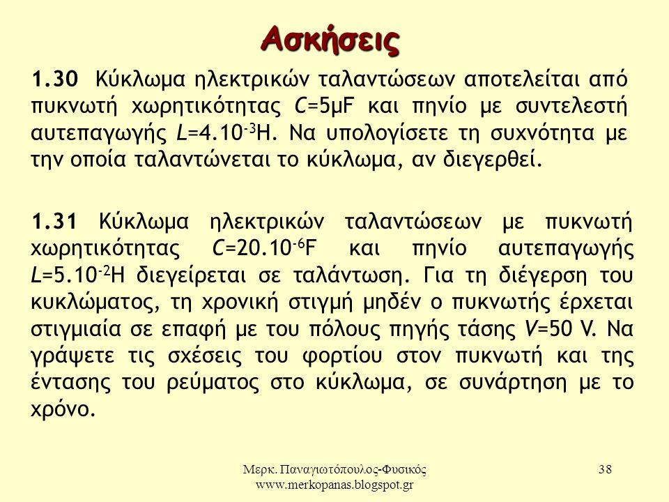 Μερκ. Παναγιωτόπουλος-Φυσικός www.merkopanas.blogspot.gr 38 Ασκήσεις 1.30 Κύκλωμα ηλεκτρικών ταλαντώσεων αποτελείται από πυκνωτή χωρητικότητας C=5μF κ