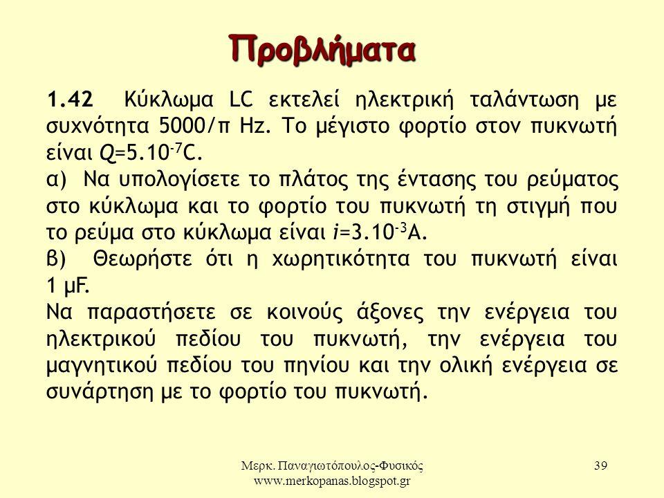 Μερκ. Παναγιωτόπουλος-Φυσικός www.merkopanas.blogspot.gr 39 Προβλήματα 1.42 Κύκλωμα LC εκτελεί ηλεκτρική ταλάντωση με συχνότητα 5000/π Hz. Το μέγιστο