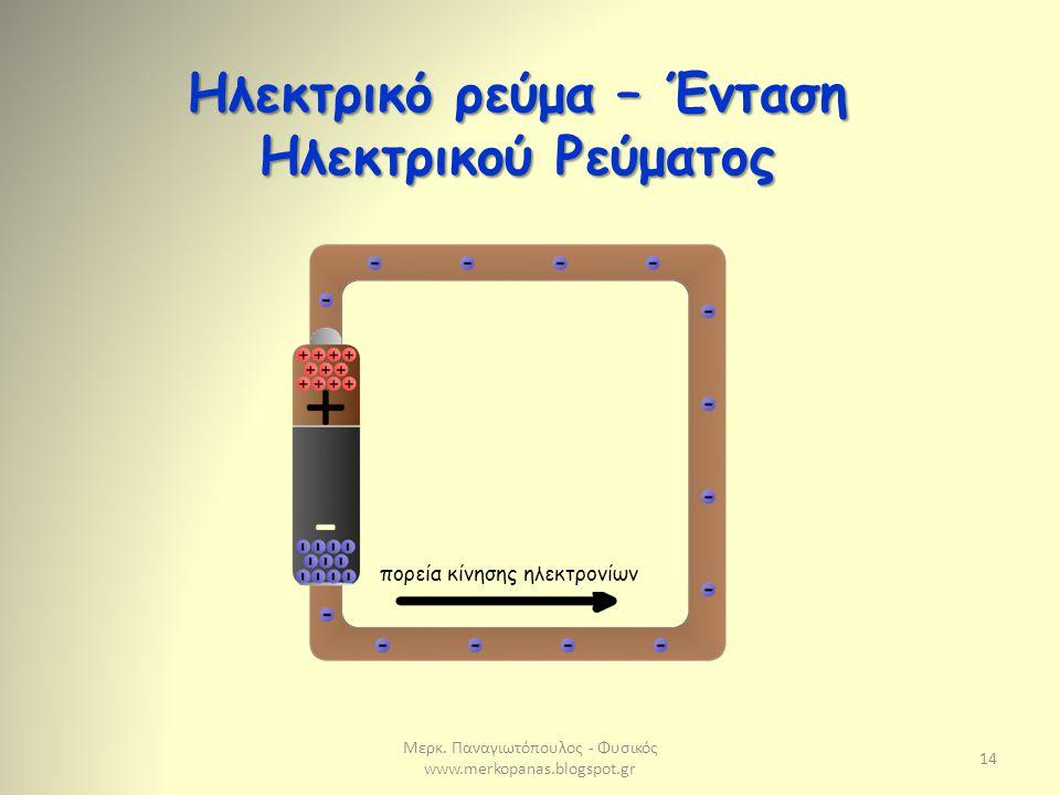 Μερκ. Παναγιωτόπουλος - Φυσικός www.merkopanas.blogspot.gr 14 Ηλεκτρικό ρεύμα – Ένταση Ηλεκτρικού Ρεύματος πορεία κίνησης ηλεκτρονίων