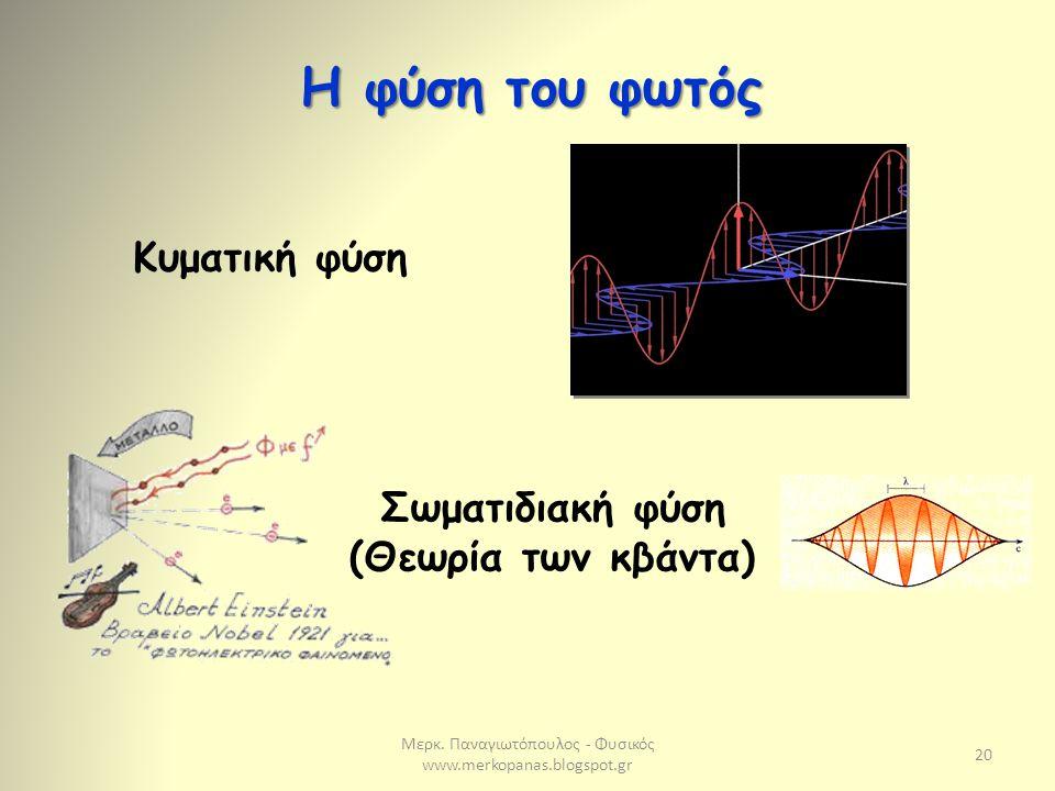 Μερκ. Παναγιωτόπουλος - Φυσικός www.merkopanas.blogspot.gr 20 Η φύση του φωτός Κυματική φύση Σωματιδιακή φύση (Θεωρία των κβάντα)