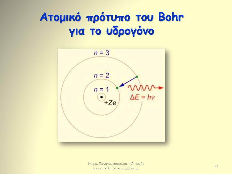 Μερκ. Παναγιωτόπουλος - Φυσικός www.merkopanas.blogspot.gr 27 Ατομικό πρότυπο του Bohr για το υδρογόνο