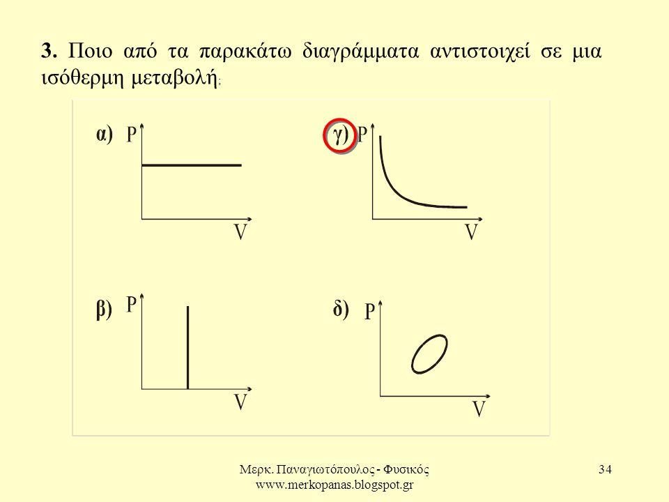 Μερκ. Παναγιωτόπουλος - Φυσικός www.merkopanas.blogspot.gr 34 3. Ποιο από τα παρακάτω διαγράμματα αντιστοιχεί σε μια ισόθερμη μεταβολή ;