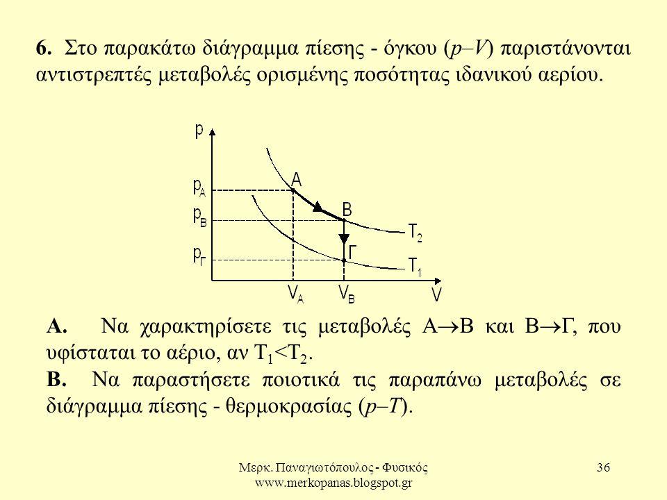 Μερκ. Παναγιωτόπουλος - Φυσικός www.merkopanas.blogspot.gr 36 6. Στο παρακάτω διάγραμμα πίεσης - όγκου (p–V) παριστάνονται αντιστρεπτές μεταβολές ορισ
