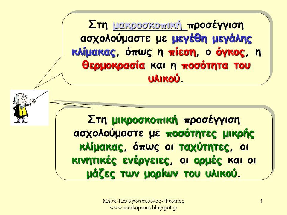 Μερκ. Παναγιωτόπουλος - Φυσικός www.merkopanas.blogspot.gr 4 Στη μακροσκοπική προσέγγιση ασχολούμαστε με μεγέθη μεγάλης κλίμακας, όπως η πίεση, ο όγκο