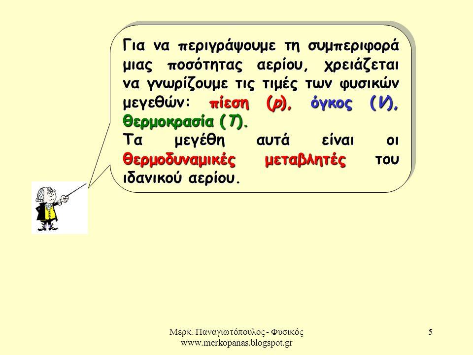 Μερκ. Παναγιωτόπουλος - Φυσικός www.merkopanas.blogspot.gr 5 Για να περιγράψουμε τη συμπεριφορά μιας ποσότητας αερίου, χρειάζεται να γνωρίζουμε τις τι