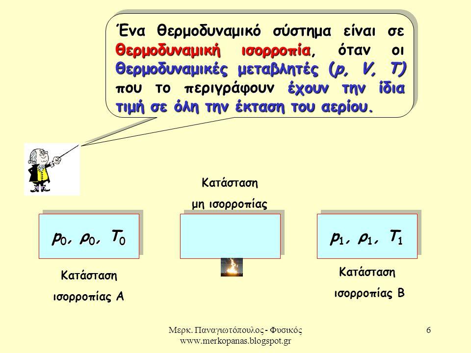 Μερκ. Παναγιωτόπουλος - Φυσικός www.merkopanas.blogspot.gr 6 Ένα θερμοδυναμικό σύστημα είναι σε θερμοδυναμική ισορροπία, όταν οι θερμοδυναμικές μεταβλ