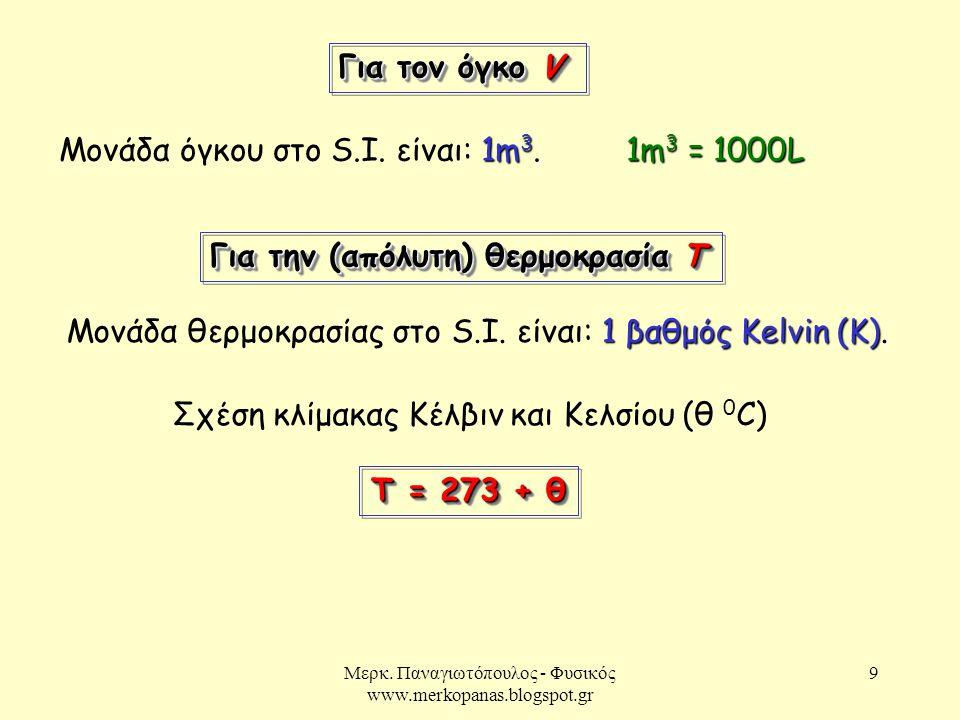 Μερκ. Παναγιωτόπουλος - Φυσικός www.merkopanas.blogspot.gr 9 Για τον όγκο V 1m 3. Μονάδα όγκου στο S.I. είναι: 1m 3. 1m 3 = 1000L Για την (απόλυτη) θε