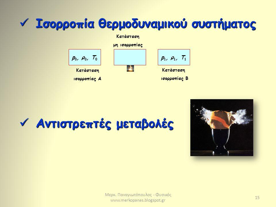 Μερκ. Παναγιωτόπουλος - Φυσικός www.merkopanas.blogspot.gr 15 Ισορροπία θερμοδυναμικού συστήματος Ισορροπία θερμοδυναμικού συστήματος Αντιστρεπτές μετ