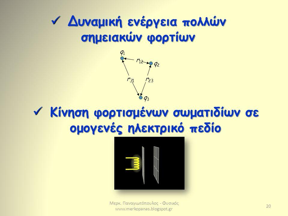Μερκ. Παναγιωτόπουλος - Φυσικός www.merkopanas.blogspot.gr 20 q1q1 q2q2 q3q3 r31r31 r 12 r 23 Δυναμική ενέργεια πολλών σημειακών φορτίων Δυναμική ενέρ