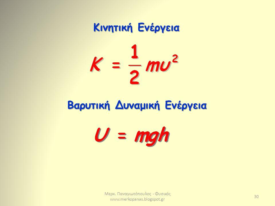 Μερκ. Παναγιωτόπουλος - Φυσικός www.merkopanas.blogspot.gr 30 Κινητική Ενέργεια Βαρυτική Δυναμική Ενέργεια