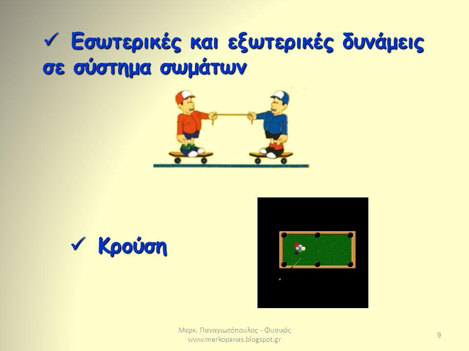 Μερκ. Παναγιωτόπουλος - Φυσικός www.merkopanas.blogspot.gr 9 Εσωτερικές και εξωτερικές δυνάμεις σε σύστημα σωμάτων Εσωτερικές και εξωτερικές δυνάμεις
