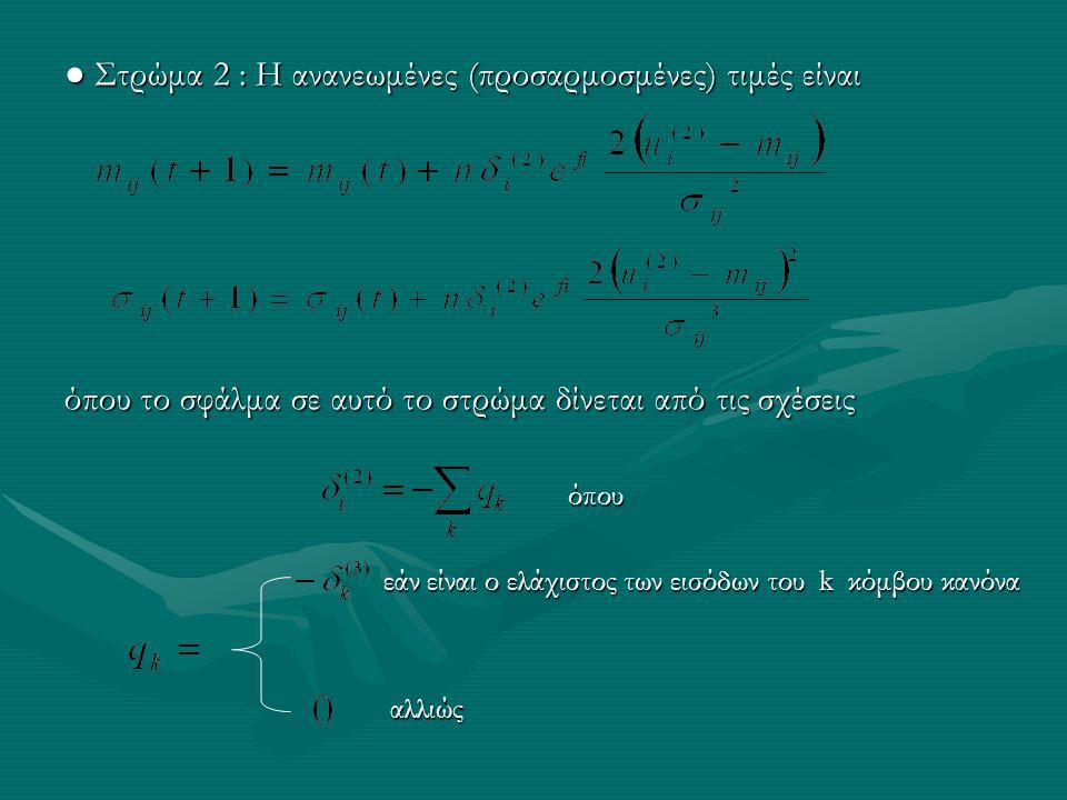 ● Στρώμα 2 : Η ανανεωμένες (προσαρμοσμένες) τιμές είναι όπου το σφάλμα σε αυτό το στρώμα δίνεται από τις σχέσεις όπου όπου εάν είναι ο ελάχιστος των ε