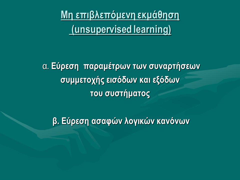 Μη επιβλεπόμενη εκμάθηση (unsupervised learning) α. Εύρεση παραμέτρων των συναρτήσεων α. Εύρεση παραμέτρων των συναρτήσεων συμμετοχής εισόδων και εξόδ