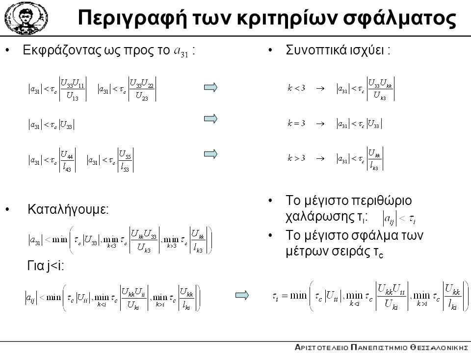 Περιγραφή των κριτηρίων σφάλματος Εκφράζοντας ως προς το :Συνοπτικά ισχύει : To μέγιστο περιθώριο χαλάρωσης τ ι : Το μέγιστο σφάλμα των μέτρων σειράς