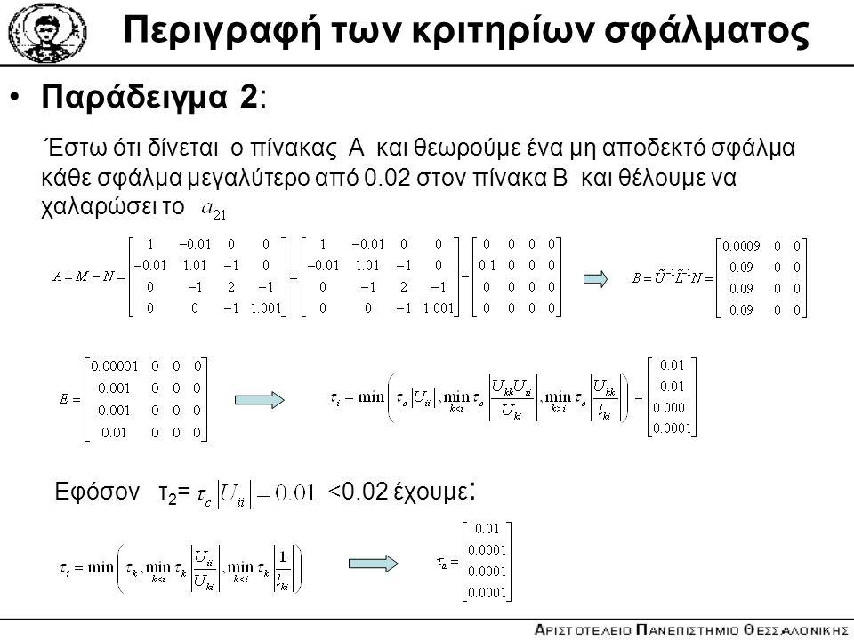 Περιγραφή των κριτηρίων σφάλματος Παράδειγμα 2: Έστω ότι δίνεται o πίνακας Α και θεωρούμε ένα μη αποδεκτό σφάλμα κάθε σφάλμα μεγαλύτερο από 0.02 στον
