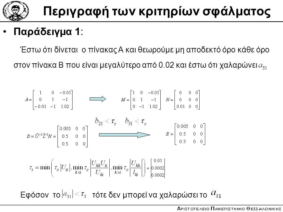 Περιγραφή των κριτηρίων σφάλματος Παράδειγμα 1: Έστω ότι δίνεται o πίνακας Α και θεωρούμε μη αποδεκτό όρο κάθε όρο στον πίνακα Β που είναι μεγαλύτερο