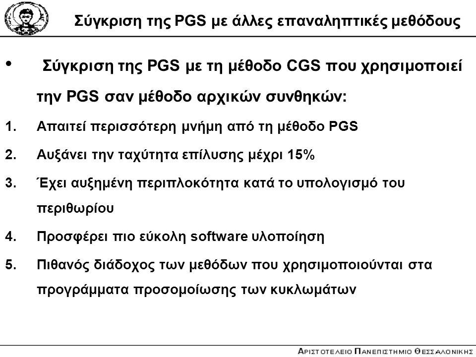 Σύγκριση της PGS με άλλες επαναληπτικές μεθόδους Σύγκριση της PGS με τη μέθοδο CGS που χρησιμοποιεί την PGS σαν μέθοδο αρχικών συνθηκών: 1.Απαιτεί περ